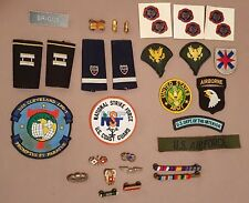 US Military Ribbons Medals Pins Patches Insignia Rank US ARMY USAF USN USCG 34pc