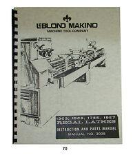 LeBLOND Regal Lathes 13C3, 15C5, 17E5, & 19E7 Instruction & Parts Manual  #70