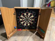 Halex ~ Electronic Dart Board ~ Oak Finish Cabinet with set of new darts