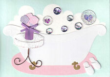 PAPYRUS Mother's Day card - Bathtub Bubble Bath Roses Gems Gllitter Slippers!