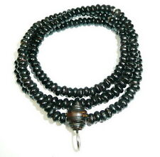 Antique Necklace Black Wooden Beads Buddha Buddhist Amulet Thai
