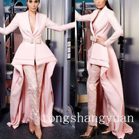 Newest Lace Pink Suits +Pants Long Train High Low V Neck  Evening Cocktail Dress