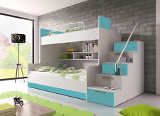 Doppelstockbett Etagenbett Hochglanz Hochbett 90x200 Kinderbett TÜRKIS NEU