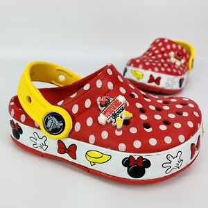 Crocs Minnie Mouse Light Up Slides Size 7C Toddler Polka Dots Red Yellow Disney