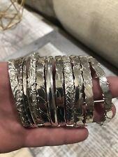 13 Mexico 925 Vintage Boho Gypsy Silver Sterling Bangle Bracelets Huge lot of