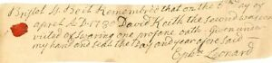 1780 Early Am Doc> DAVID KEITH THE 2ND CONVICTED OF SWEARING ONE PROFANE OATH !