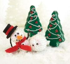 "Sunrise Craft Sequin & Bead Holiday 3pc Decoration Kit ""Just Chillin' in Winter"""
