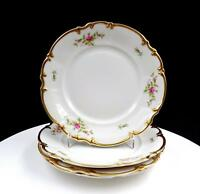"HUTSCHENREUTHER BRIGHTON GOLD SYLVIA SHAPE WITH ROSES 4 PC 7 3/4"" SALAD PLATES"