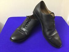 BARNEYS NEW YORK Men's Italy BLACK LEATHER DRESS SHOES Size 41 Lace Up  (box 17)