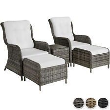Rattan Set Seats Foot Stools Table Glass Top Garden Cushions Terrace Patio New