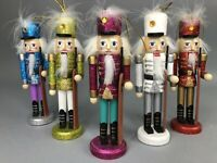 "Nutcracker Christmas Ornaments Lot of 5 Glitter Colorful 6"" Wooden CUTE Gift"
