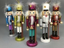 "New ListingNutcracker Christmas Ornaments Lot of 5 Glitter Colorful 6"" Wooden Cute Gift"