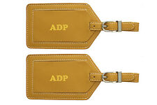Monogrammed Leather Luggage Tags - 2 Pack - Personalized, Custom Made