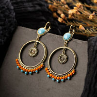 New Vintage Ethnic Big Round Hollow Turquoise Drop Dangle Clip-On Women Earrings