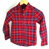 Place Boys Red, Gray, and White Plaid Long Sleeve Button Down Shirt. Size S 5/6