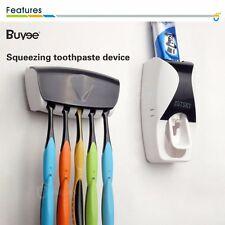 Auto Distributeur Dentifrice + 5 Porte-Brosse à Dents Set Montage Mural Stand FR