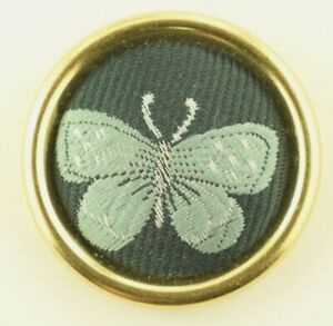 Vintage Baby Blue Butterfly Mounted Fabric On Metal Big 36mm Button A3