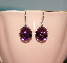 Vintage Petite Austrian Amethyst purple lindy star silver bridesmaid earrings