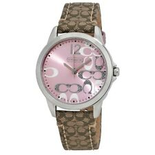 NWT Coach 14501621 Women's Watch Brown Pink Leather Silver SS Glitz CLASSIC