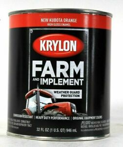 (1 Can) Krylon Farm & Implement 2043 New Kubota Orange High Gloss Enamel 32 Oz