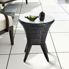 Outsunny Round Rattan Wicker Side End Tea Coffee Table Tempered Glass Top