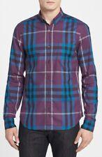 Genuine Burberry Brit Men's Signature purp Nova Check Cotton Long Sleeve Shirt m