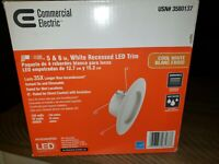 Commercial Electric Dimmable 5 or 6 in White Integrated LED Recessed Trim New