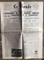N79 La Une Du Journal Le Monde 24 Et 25 Novembre 1963