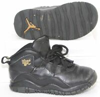 Nike Air Jordan 10 Retro Sneakers City Pack NYC Shoes Black Gold Youth Boy Sz 9C