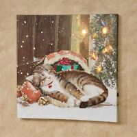 Christmas Kitten LED Lighted Canvas Wall Art Multi Warm