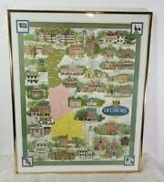 Historic Delaware Map Framed Poster Picture Wall Hanging 30x20 Americana Print