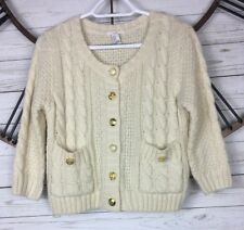 I love H81 Sweater Cardigan Button Front Ivory Acrylic Blend Cable Knit Womens M