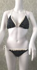 Juicy Couture Blue White Stripe Ruffle String Bikini Size P Petite XS