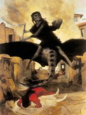 Painting Surreal Fantasy Horror Plague Bocklin Weird Art Canvas Print
