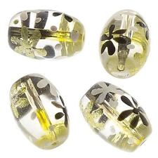Flor Pintada a Mano de Oro Cuentas de vidrio transparente Barril Paquete de 4 (E93/2)