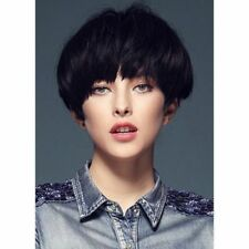 100% Real Hair! Fluffy Black Human Hair Vogue Straight Bob Style Short Women Wig