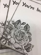 BLANK CARDS/ INVITATIONS- Rose Theme - You're Invited Pack Of 10 With Envelopes