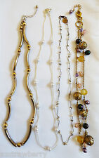 Lot of 4 Swet multi style design link chains charm pearls crystal Necklaces