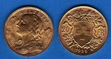 SUIZA. Año 1935 B. 20 Francos. Oro. Peso 6,45 gr. Ley 900 /1000. HELVETIA.