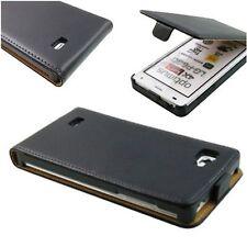 Etui Housse pour LG Optimus 4x hd p880 fine flip vertical case slim cuir noir