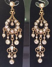 Chandelier Crystal Long Dangle Drop Earring Antique Gold Wedding Formal 8cm