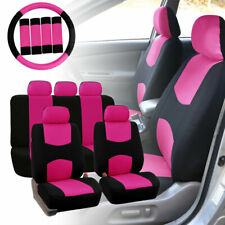 Car Seat Covers for Auto Pink w/ Steering Wheel/Belt Pads