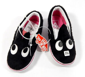Vans Slip-On Friend Party Fur Toddler Shoes Black True White Size 7 New In Box