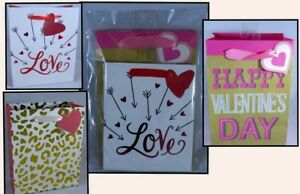 Valentines Day Variety Pack of 3 Small Gift Bags Love Gold Cheetah Happy