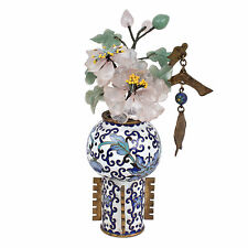 China 20. Jh. A Small Chinese Cloisonne Vase & Hardstone Flowers Chinois Cinese