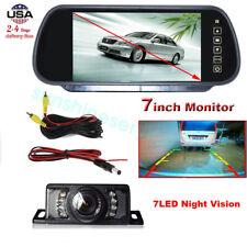 7 Inch HD TFT LCD Monitor/Mirror Car Backup Rear View Camera Parking Reverse Kit