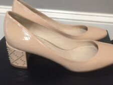 Nude Patent Leather  Pumps  with gold beaded Heels by Delman sz 7.5 med