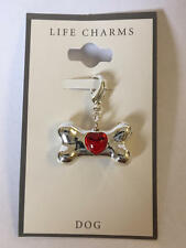 Life Charms DOG Doggie Bone with Red Heart Silvertone Lobster Claw Clasp NEW