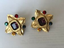 Vintage Multicolored Glass Cabochons Clip-On Earrings