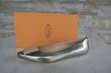 orig Tods Tod´s Gr 40 Halbschuhe Ballerinas Schuhe Shoes platin NEU UVP 398 €